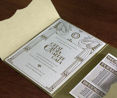 Gold Gatsby inspired peacock event invitations, perfect for a roaring twenties New Year's themed party.  | Invitations by Ajalon | invitationsbyajalon.com