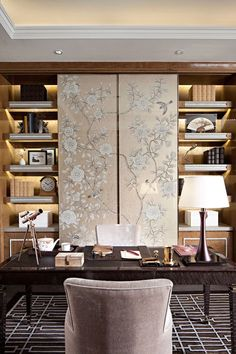 Silk chinese panels in a feminine office