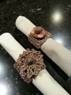 Gehaakte servetringen Napkin Rings, Detail, Diy, Bricolage, Do It Yourself, Homemade, Diys, Napkin Holders, Crafting
