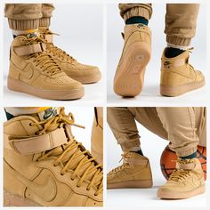 The legendary Nike Air Force 1 High is the highlight of the 2015 Nike Flax Pack. Great wheat colorway!