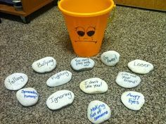 It's Bucket Filling Time! Negative words, behaviors and actions were written on heavy rocks and then added to a bucket that a child was holding to show the effects of how negative words and actions can weigh you down. Bullying Activities, Counseling Activities, Therapy Activities, Bullying Lessons, Feelings Activities, Educational Activities, Elementary Counseling, School Counselor, Counseling Teens
