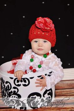 Christmas Crochet Hat with Matching Chunky Beaded Necklace perfect for Santa pictures!