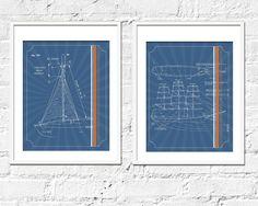 Sailing Artwork Print Set Sailing Blueprints Set of by TexturedINK, $36.00