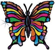 """33"""" Pop Art Butterfly -Pkg foil balloon"""