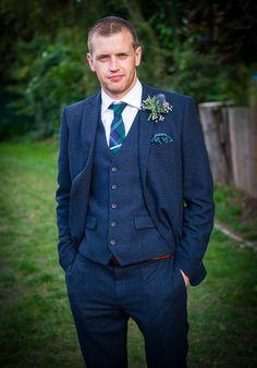 Next Tweed Blue Suit Tartan Tie Colourful DIY Village Fete Wedding http://jamesgristphotography.co.uk/blog/