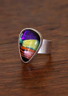 Chunky Vintage Sterling Silver Iridescent Ring by MayberryGraphics