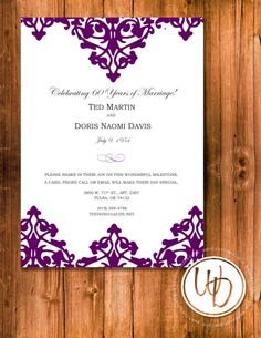 Anniversary Party Invitation, Anniversary Celebration Invitation, Purple Invitation, Elegant Invitation, 60th Anniversary Invitation by WentrothDesigns on Etsy https://www.etsy.com/listing/227797035/anniversary-party-invitation-anniversary