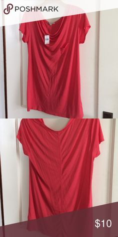 NWT Gap Factory Top NWT Short sleeve coral top with front draping & pocket detail. Very soft & pretty color for summer! GAP Tops Tees - Short Sleeve