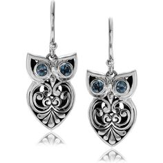 Journee Collection Sterling Silver Topaz Accent Bali Style Owl Dangle... ($88) ❤ liked on Polyvore featuring jewelry, earrings, blue, bezel earrings, dangle earrings, sterling silver earrings, earrings fine jewelry and long dangle earrings