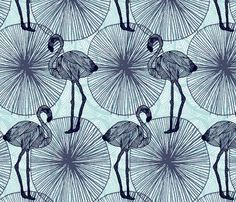 Flamingo Wallpaper fabric by demigoutte on Spoonflower - custom fabric