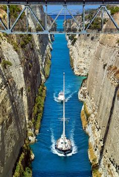 Corinth Canal, Greece... connects the Gulf of Corinth with the Saronic Gulf