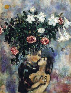 "rakham-lerouge: "" Marc Chagall, Lovers under lilies, 1925 """