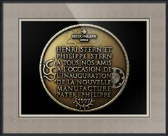 "Patek Philippe Geneve Commemorative Medal Coin (Back) // Paper: enhanced matte; Glazing: acrylic; Moulding: black, black bevelwoods; Top Mat: black/gray, fiori grotto; Middle Mat: brown, chestnut brown; Bottom Mat: tan, seaside // Price starts at $169 (Petite: 18.5"" x 20.5""). // Customize at http://www.imagekind.com/Patek-Philippe-Geneve-PPG_art?IMID=052985c0-deff-40d6-9371-16068992094d"