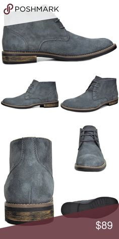 """NEW Mens Suede Leather Oxford Lace Up Boots Chukka NEW   Men's Lace-up Suede Leather Oxfords Chukka Boots Bruno Color: Gray Grey  Features:  Premium Suede Leather Heel height 1"""" approx Platform approx 0.50"""" Durable Sole Cushioned Footbed  Plain-toe Design  Contrast detailed stitching  Flexible and Comfort Chukka Boots    @alexambrands aLexam aLexam-1grey Shoes Chukka Boots"""