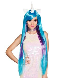 Peluca unicornio largo bicolor mujer  Esta peluca de cabellera larga y lisa  tiene flequillo 8cd9a846d2d8