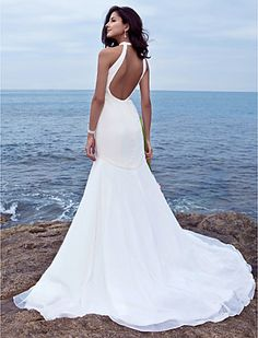 Trumpet/Mermaid Halter Sweep/Brush Train Chiffon Wedding Dress - USD $ 149.99