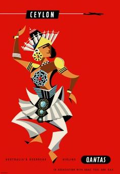 Qantas Ceylon travel poster Harry Rogers - Dancer