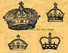 Royal Crown Set of 4 Different Rubber by ButterSideDownStamps