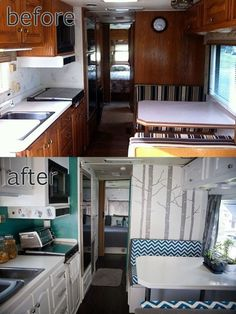 Camper Renovation 592434525967519462 - RV / Motorhome Interior Remodel- really like the brightness after the remodel. RV / Motorhome Interior Remodel- really like the brightness after the remodel. Camping Vintage, Vintage Camper, Vintage Rv, Kombi Trailer, Camper Trailers, Camper Van, Travel Trailers, Rv Travel, Luxury Travel