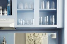 An Amazing Renovation-Free Kitchen Makeover — One Kings Lane  Benjamin Moore Blue Ice 821