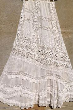 Love this skirt! Vintage white all over embroiderery Bonnie Strauss Clothing and Jewelry