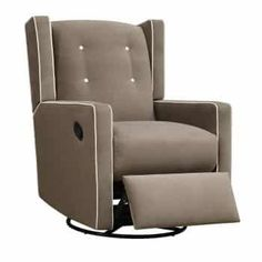 Add elegance and comfort to a gender neutral baby nursery with a Dorel Living Baby Relax Mikayla Upholstered Swivel Gliding Recliner in mocha Glider Recliner Chair, Swivel Glider, Thing 1, Leather Recliner, Furniture Sale, Foot Rest, Upholstery, Relax, Home Decor
