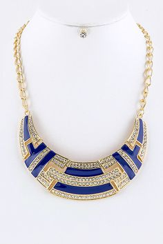 CRYSTALS COLOR BLOCK BIB NECKLACE EARRINGS SET (BLUE/GOLD TONE) - $20
