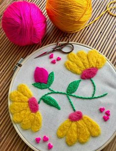 See related links to what you are looking for. Embroidery Flowers Pattern, Embroidery Needles, Modern Embroidery, Crewel Embroidery, Floral Embroidery, Flower Patterns, Embroidery Designs, Needlepoint Stitches, Needlework