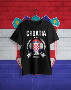 7c58751d73e9 Croatia Soccer Shirt 2018 Croatian Emblem T-Shirt Soccer Ball Croatian Flag  Soccer Player Fans Gift