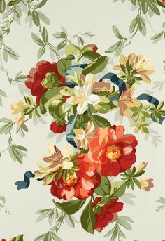 "Ellesmere Ribbon Floral Aqua Fabric SKU - 173811 Width - 54"" Horizontal Repeat - 27"" Vertical Repeat - 35.5"" Fabric Content - 100% Cotton Country of Finish - France"