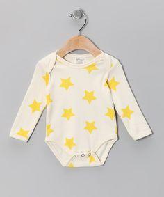Neutral White & Yellow Star Organic Bodysuit - Infant