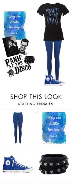 """Panic!At The Disco"" by mayra-navia ❤ liked on Polyvore featuring Miss Selfridge, Converse and Valentino"
