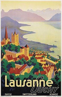 Lausanne, Switzerland #vintagetravelposters