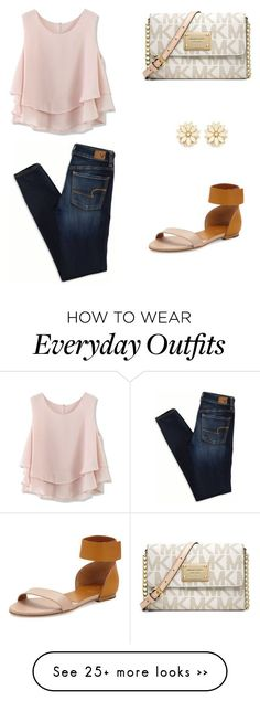"""preppy everyday"" by mackenziebeardd on Polyvore featuring Chicwish, Chloé, Michael Kors, Forever 21 and American Eagle Outfitters"