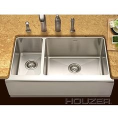 Houzer Farm House Undermount 70 / 30 Large Right Basin Kitchen Sink Apron Front Kitchen Sink, Farmhouse Sink Kitchen, Kitchen Sinks, Bar Sinks, Double Bowl Sink, Plumbing, Home Improvement, House Styles, Home Decor
