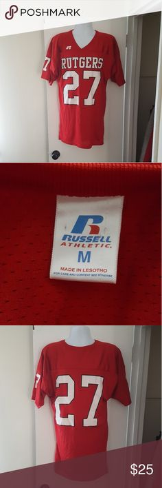 reputable site a3dea b78db Russell Athletic Rutgers Football Jersey Russell Athletic Rutgers Football  Jersey Size Medium Base of Collar to
