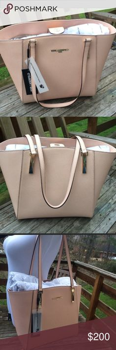 Karl Lagerfeld | Large Leather Satchel New with tags. Beautiful Blush color purse with gold hardware. Genuine leather. This is the large size bag. Feel free to ask questions. Karl Lagerfeld Bags