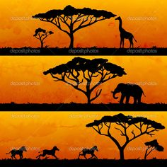 African banners set, nature and animals silhouettes — Vector by littlepaw