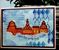 STAMPINBACK.NL: In de wolken Just Go, Stencil, Buildings, Stamp, Houses, Cards, Sketches, Clouds, Stamps