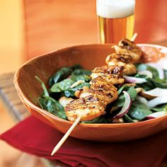 Spinach Salad with Grilled Shrimp - 20 Minute, Superfast Grill Recipes - Cooking Light