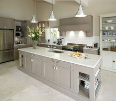 Choosing New Kitchen Countertops Open Plan Kitchen Living Room, Kitchen Dining Living, Home Decor Kitchen, New Kitchen, Kitchen Interior, Home Kitchens, Grey Kitchen Diner, Grey Kitchen Island, Dream Kitchens