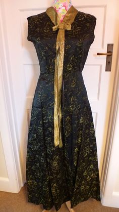 Vintage Revival 1960s black and gold maxi dress guide size 14 UK evening wear