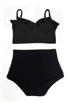 Black Midkini Padded Top and Highwaisted High by venderstore