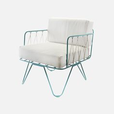 HONORÉ armchair inspired by 50's, designed by Honoré for SERAX. Made ofMetal, rope and cotton canvas. Also available in white. Features of the Serax Honore Cha