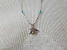 Sterling Silver Beaded Turquoise Spirit Bear Necklace