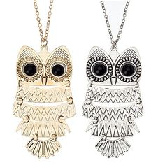 Amazing Value Jewellery Set Kit of 2 Classic Style Necklaces With Cute Black Eyed Owls Pendants On Chains In Silver And Golden Colours By VAGA® VAGA http://www.amazon.ca/dp/B00PMB54OE/ref=cm_sw_r_pi_dp_fWUfvb04J5QBH
