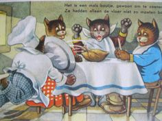 SALE  Dressed Cats. Very old Dutch Postcard. 1980 era by grandma62