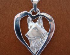 Large Sterling Silver German Shepherd Dog Standing Study