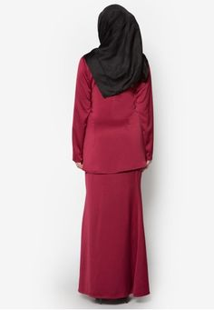 Kurung Moden Qhalisa from Amar Amran in Red Kurung Moden Qhalisa from Amar Amran in Red Embrace the festive season with a chic baju kurung moden such as this one by Amar Amran. The brand gives t... Shades Of Maroon, Festive, High Neck Dress, Seasons, Chic, Modern, Red, Tops, Dresses