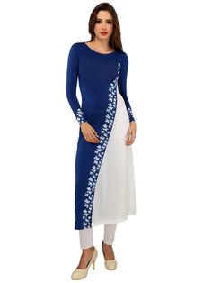Blue and white cut and sew daigonal design long kurti made in soft poly stretch knit fabric